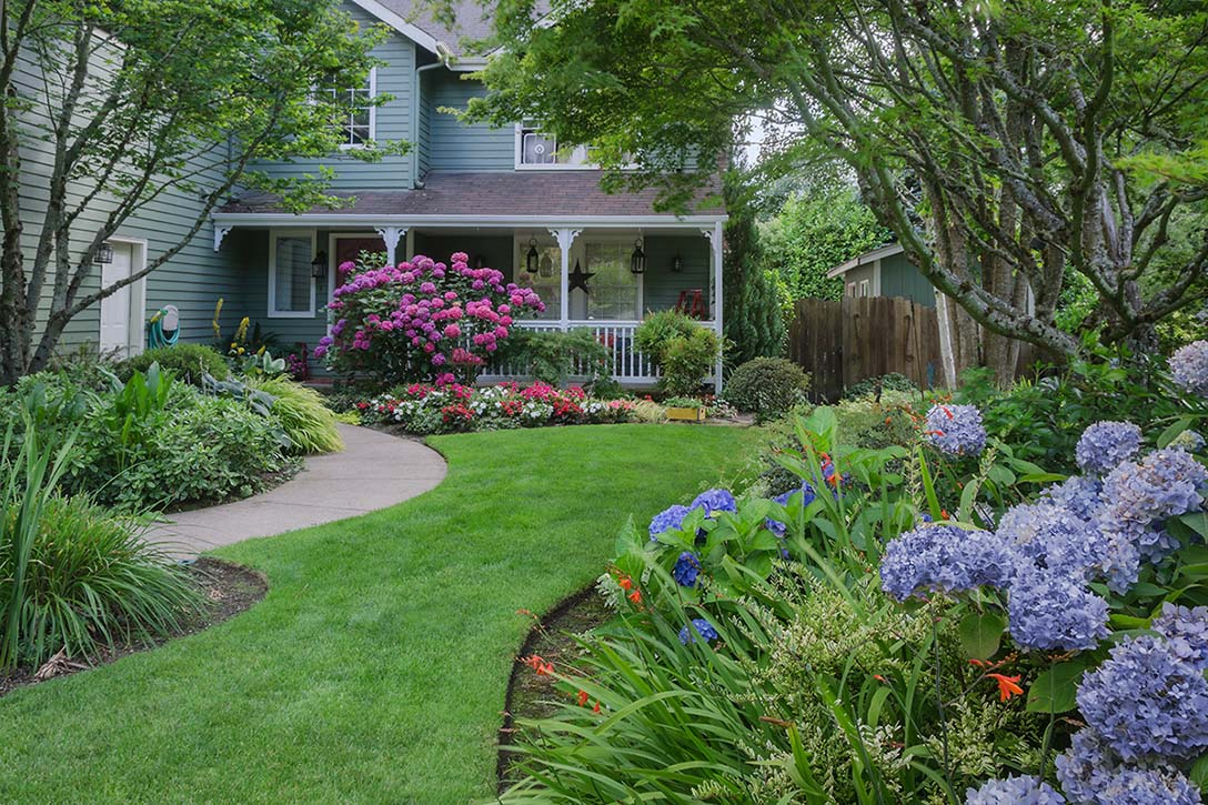 A front yard filled with garden beds and plants that help s to demonstrate the concept of arrangement in garden design