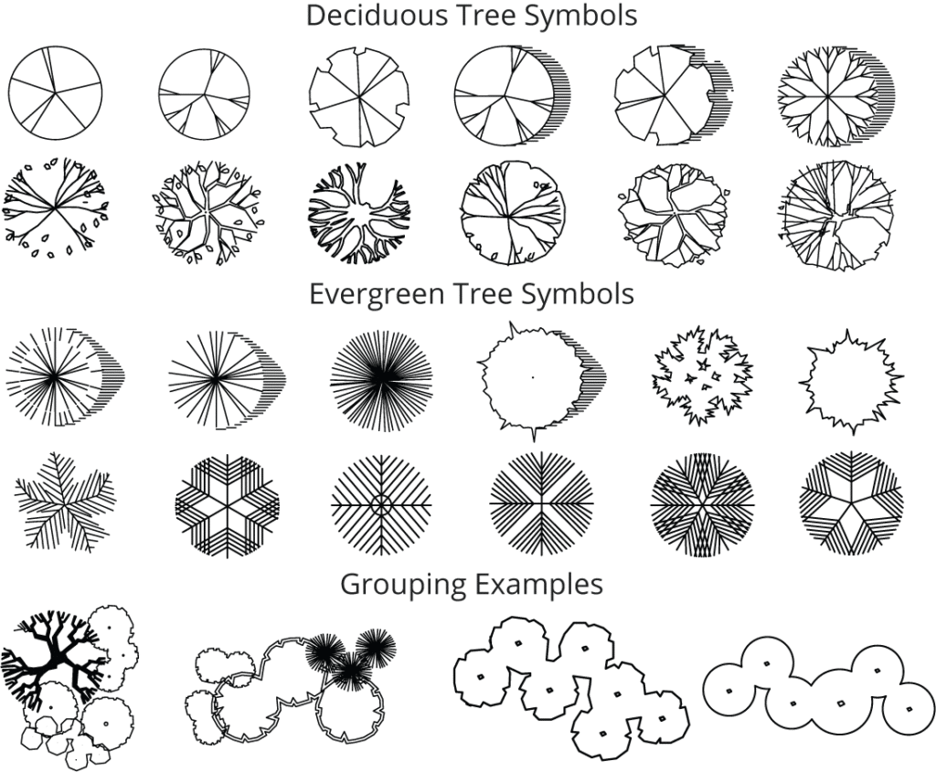 Landscape Design Symbols Trees and Grouping