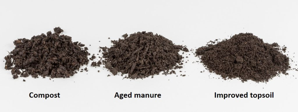 A picture of piles three soil amendments: Compost, aged manure, and improved topsoil